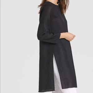 Eileen Fisher Black Organic Linen Side Slit Tunic